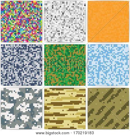 Pixel background camouflage Duotone. Retro vector background.