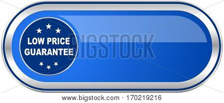 Low price guarantee long blue web and mobile apps banner isolated on white background.