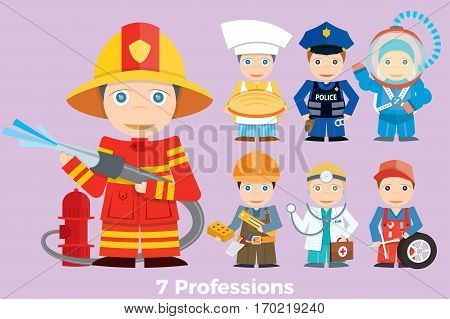 Children's Illustration People Profession. Young Children Are Shown As The Representatives Of Variou