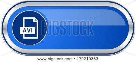 Avi file long blue web and mobile apps banner isolated on white background.