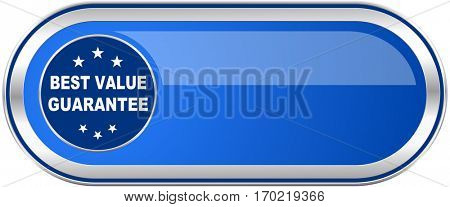 Best value guarantee long blue web and mobile apps banner isolated on white background.