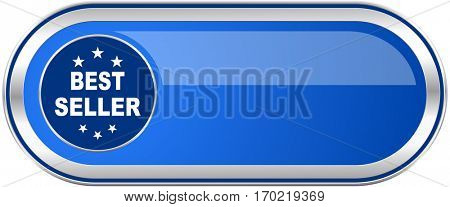 Best seller long blue web and mobile apps banner isolated on white background.