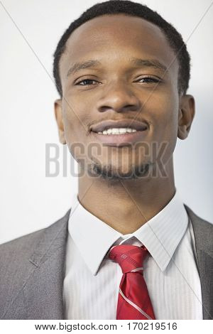 Close-up portrait of an African American businessman smiling