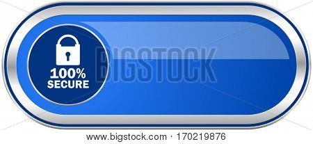 Secure long blue web and mobile apps banner isolated on white background.