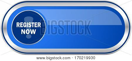 Register now long blue web and mobile apps banner isolated on white background.