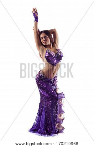 Beautiful Woman In The Active Arabic Dance. Studio Shot. Isolated