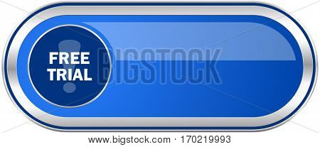 Free trial long blue web and mobile apps banner isolated on white background.