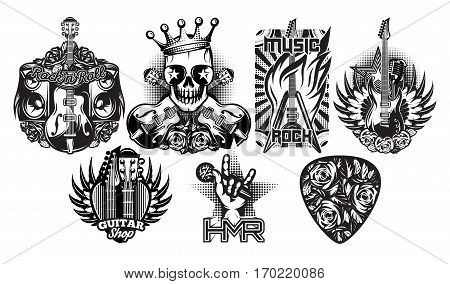Set of monochrome vector patterns on the theme of rock music rock and roll