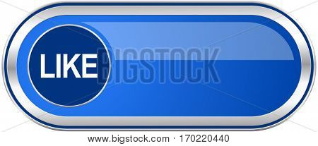 Like long blue web and mobile apps banner isolated on white background.
