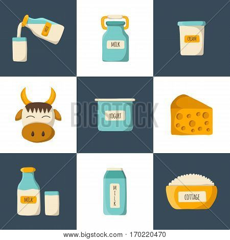 Vector illustration with cartoon milk products icons. Milk intolerance or lactose free concept. Vector cartoon dairy products. Natural organic milk production. Farm diary production icons concept