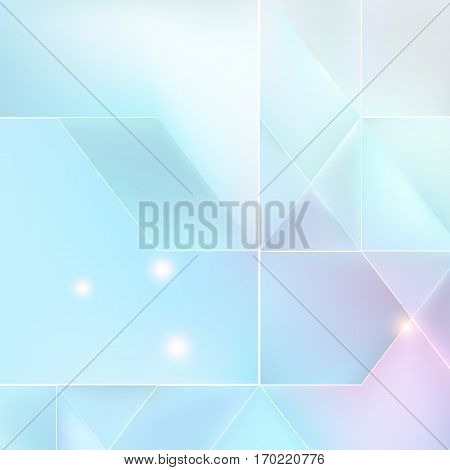 Blue and lilac mosaic background with light effects. Neutral vector background.