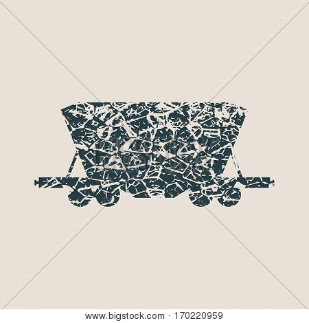 Freight wagon icon. Vector illustration. Grunge Style Abstract silhouette
