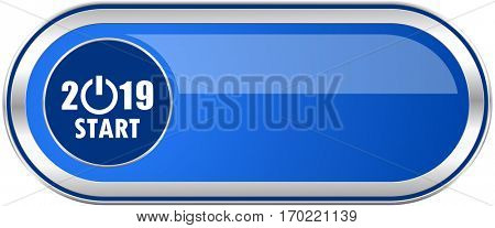 New year 2019 long blue web and mobile apps banner isolated on white background.