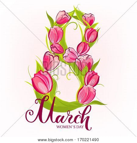 8 March greeting card. Decorative number eight with tulips