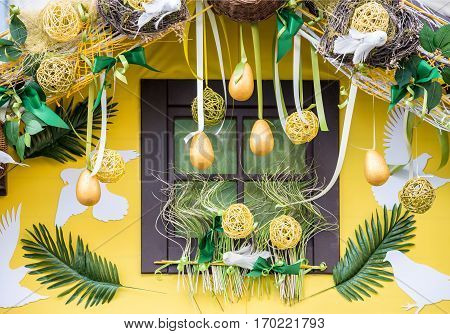 window decorated accessories and plants for Easter