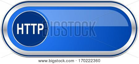 Http long blue web and mobile apps banner isolated on white background.