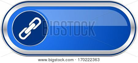 Link long blue web and mobile apps banner isolated on white background.