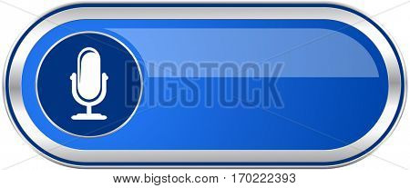 Microphone long blue web and mobile apps banner isolated on white background.