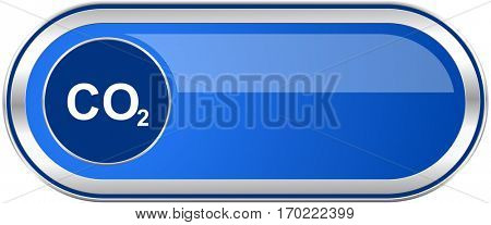 Carbon dioxide long blue web and mobile apps banner isolated on white background.
