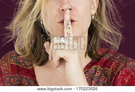 Woman Quiet Shut Up Secret Shh Portrait Concept
