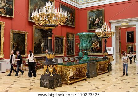SAINT-PETERSBURG RUSSIA-JANUARY 06 2017: The State Hermitage Museum in St. Petersburg. Hall of Italian art of the 17th and 18th centuries.