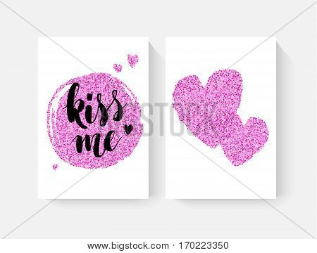 Valentine's day cards with hand lettring and pink glitter details. Vector illustration.