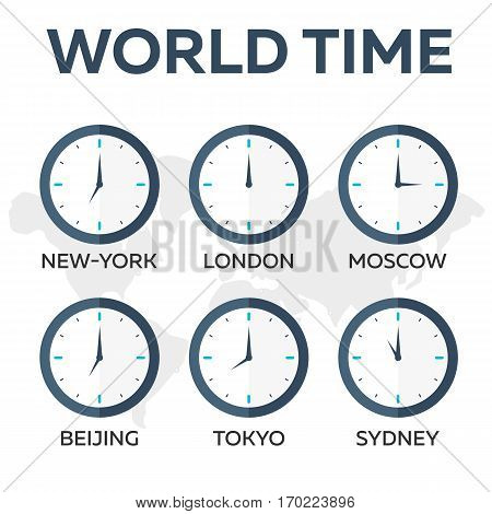 World Time. Watch. Time Zones. Vector Flat Illustration.