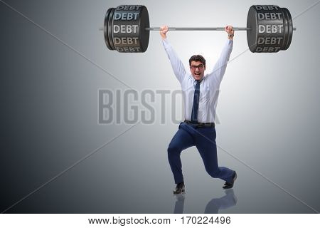 Businessman under heavy burden of debt