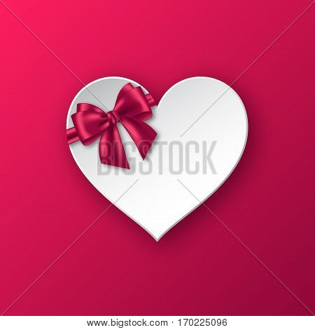 Realistic paper heart with bow for holiday design. Abstract greeting banner. Vector illustraton.