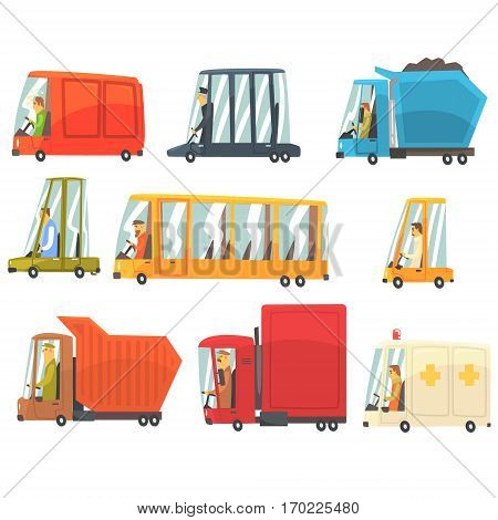 Public And Personal Transport Toy Cars And Trucks Set Of Childish Colorful Transportation Vehicles. Childish Vector Illustrations With Cute Cars And Bikes With Drivers In Stylized Design.