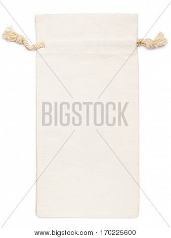Top view of single empty fabric cotton small bag (burlap pouch) isolated on white background