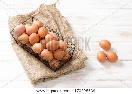 Mesh Wire Tray Of Chicken Eggs On Hessian Sackcloth