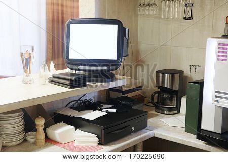 Cash desk in a cafe
