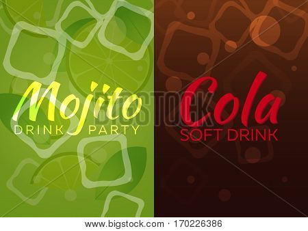 Ice Mojito And Cola Poster. Vector Illustration.
