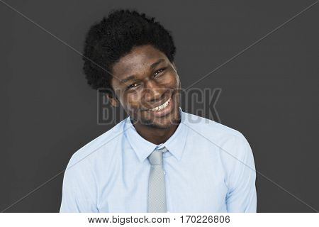 African Descent Man Tilt Head Smiling Concept