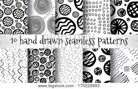 Hand Drawn Seamless Triangle Pattern With Ink Doodles. Black And White Delta Background Set. Trigon Squiggle Texture Organic Geometric Design