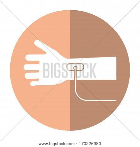 hand transfusion drop shadow vector illustration eps 10