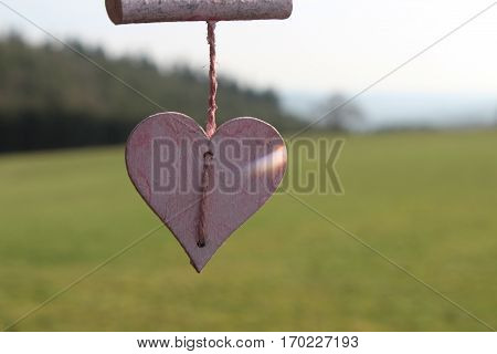 Pink wooden heart and pink wooden rod hanging on pink sisal thread and dancing in the tender wind in sunny Häselingen February 2017, in the background, meadow, forest of Krählingen and blue sky.