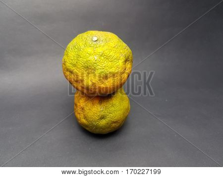 Withered oranges on black paper abstract background