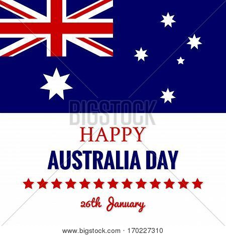 Happy Australia Day 26 January Festive Background with Union Jack Flag and Stars. Banner Template in Blue Red White Colors