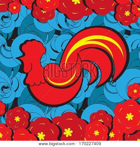 2017 Lunar New Year for Pocket Or Envelope Design With Red Rooster And Flowers. Fire Chicken Zodiac Symbol On Blue Background. Oriental Greeting Card