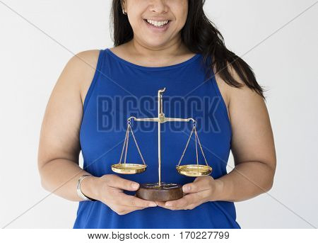Woman Hands Hold Scale Equality