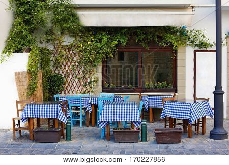 Small Street with cafe in Larnaca during Summer. Cuprus