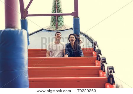 Couple Dating Amusement Park Ride Playful Fun Excitement