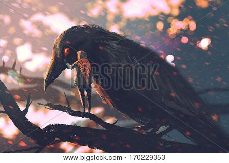 the man whispering the big crow on a tree branch, illustration painting