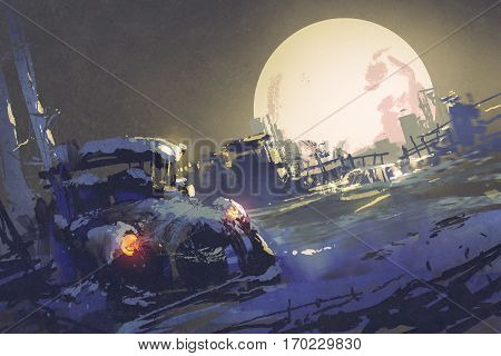 winter night scenery showing abandoned car coverd with snow and big fullmoon on background, illustration painting