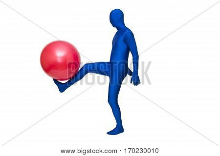 Mysterious Blue Man In Morphsuit Exercise With Pilates  Ball