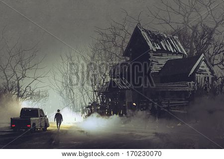 night scene of truck driver and abandoned haunted old house in forest, illustration painting