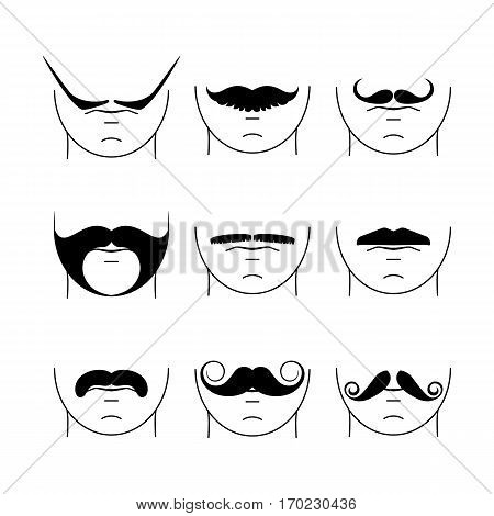 Big set of hipster mustache. Collection of cartoon barber silhouette hairstyle . Various types of whiskers