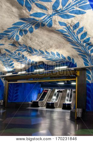 Stockholm, Sweden - December 25, 2013: View of the famous Stockholm subway station